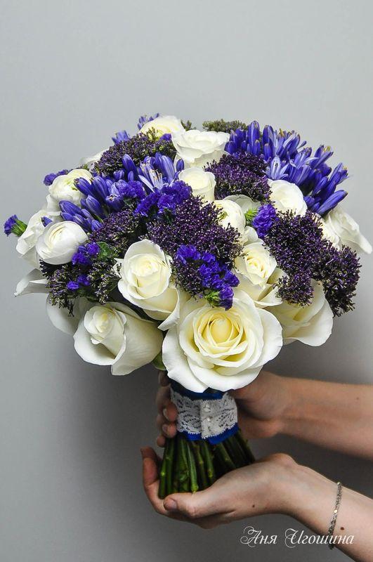 Свадебные букеты из статицы и белых роз, цветов интернету красноярск