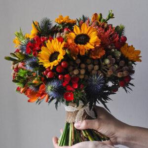 Осенний букет невесты без роз