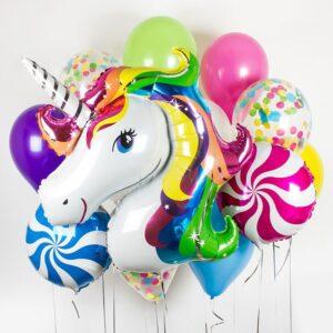 Букет/фонтан из воздушных шаров - Единорог