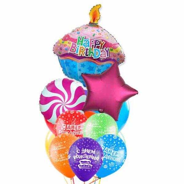 Букет/фонтан из воздушных шаров - С днем рождения!