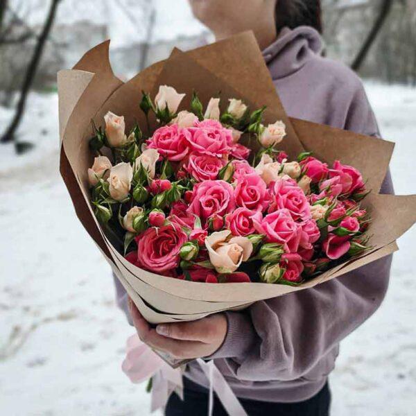 Букет кустовых роз Пинк Флэш №2