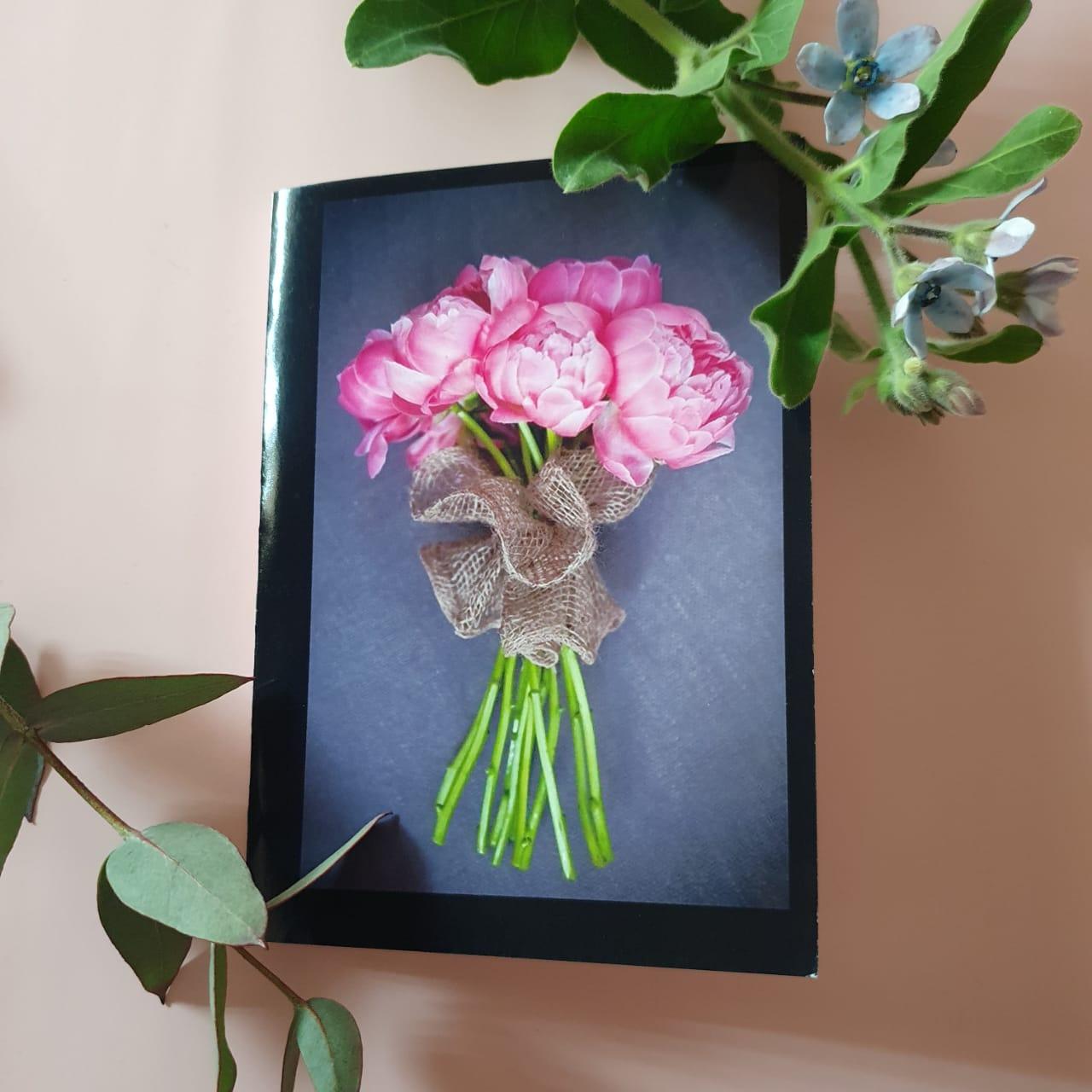 Открытка Букет розовых пионов
