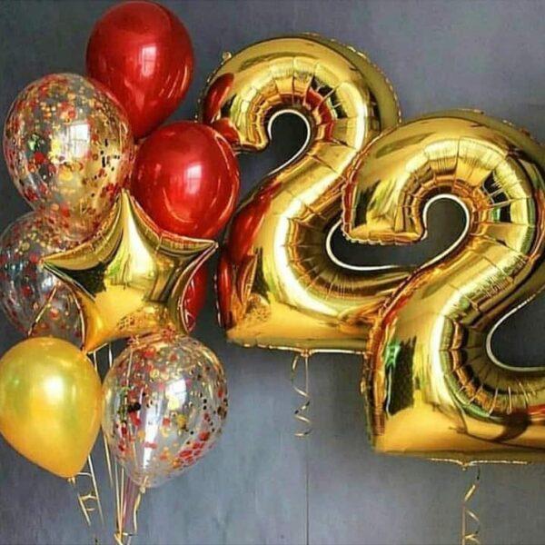 Фонтан из воздушных шаров с цифрами