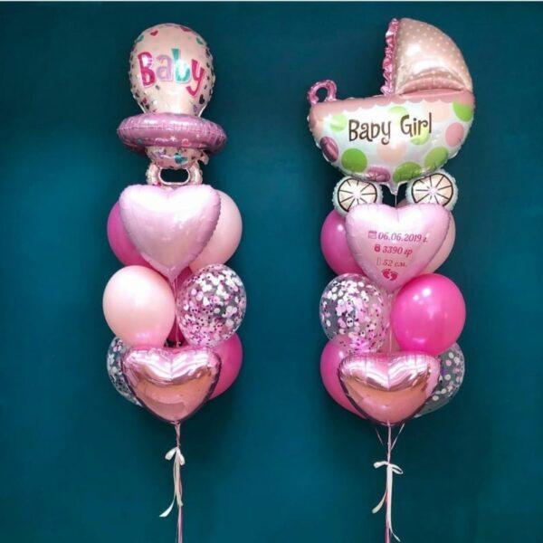 Фонтан из воздушных шаров для новорожденной